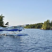 Blue plane on water